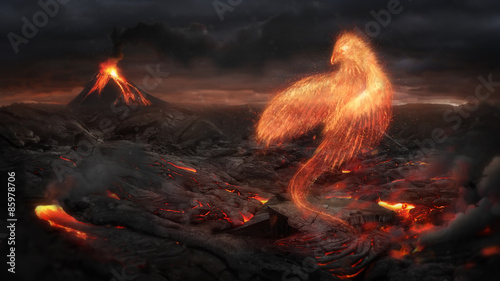 Photo  Burning bird phoenix  in the volcanic landscape