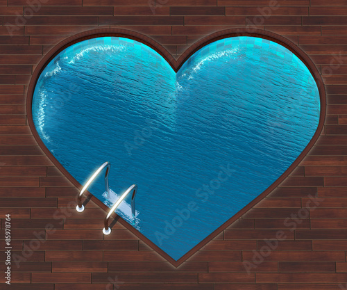 Staande foto Vintage Poster Shaped pool heart