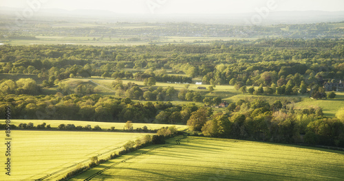 Late evening English countryside landscape in Spring