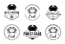 Crab Logos, Labels And Design Elements