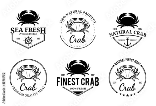 Photo  Crab Logos, Labels and Design Elements
