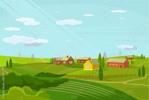 Foto op Plexiglas Turkoois Vector village flat illustration;