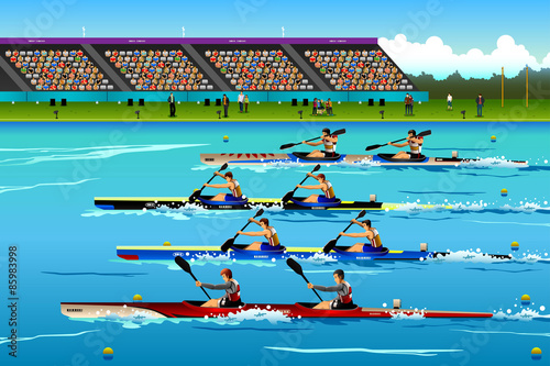 Fotografia People riding canoe in river during competition