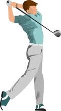 A Man Swing Golf