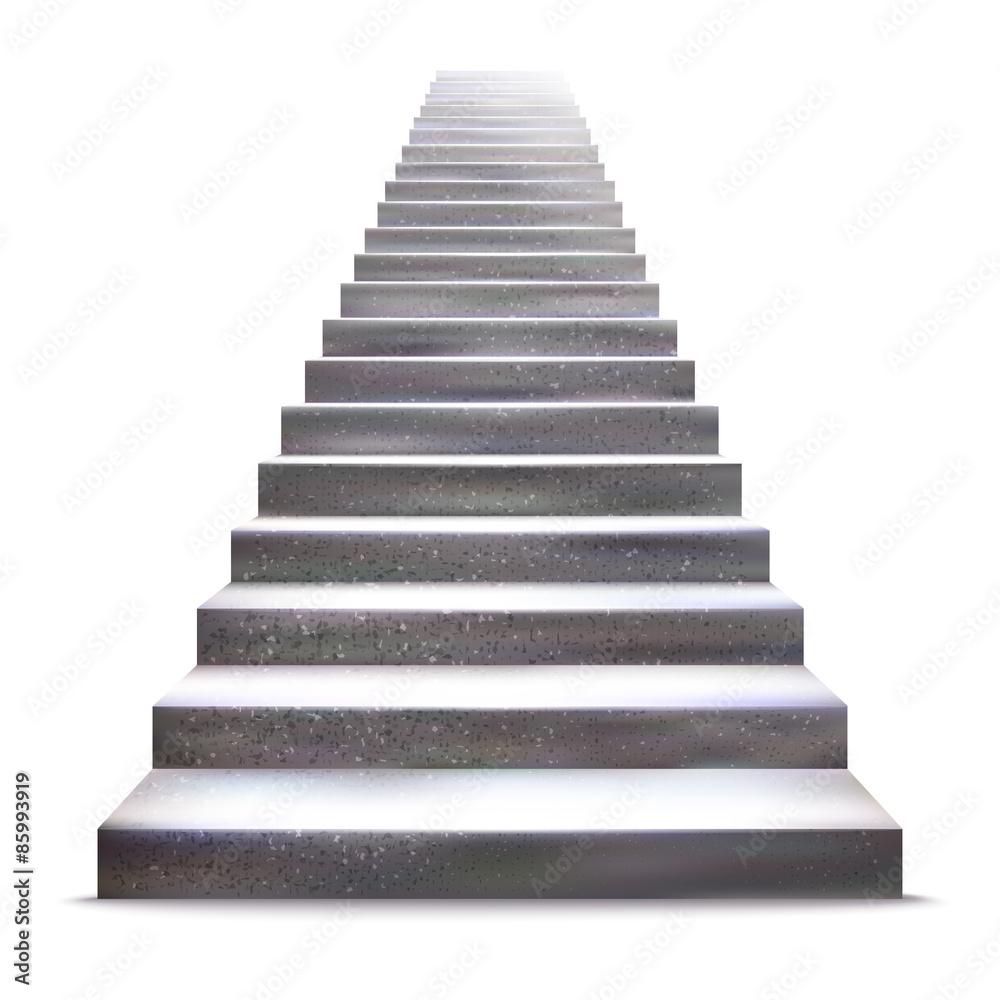 Fototapeta Realistic stone ladder vector illustration