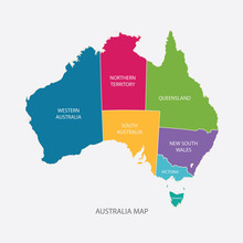 AUSTRALIA MAP COLOR WITH REGIO...
