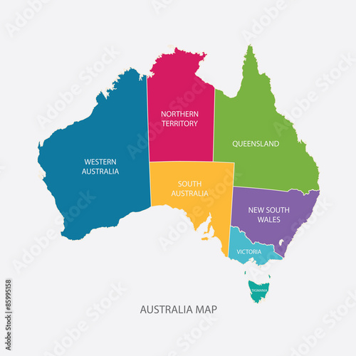 AUSTRALIA MAP COLOR WITH REGIONS flat design illustration ...
