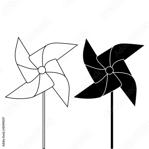 Fotografia, Obraz  PINWHEEL OUTLINE AND SILHOUETTE illustration vector