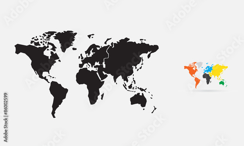 World map, silhouette, vector