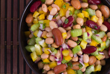 Healthy Mixed Beans And Vegetables Salad Bowl