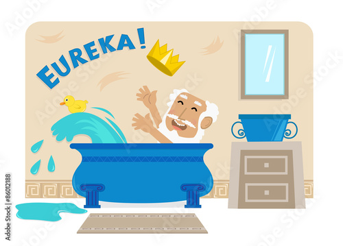 Archimedes In Bathtub - Cartoon illustration of Archimedes in his bathtub with the golden crown and the word Eureka at the top Wallpaper Mural