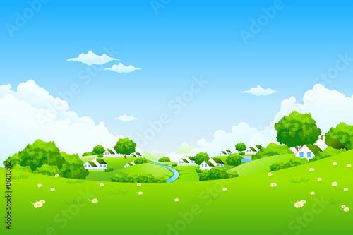 In de dag Lime groen Green Landscape with houses