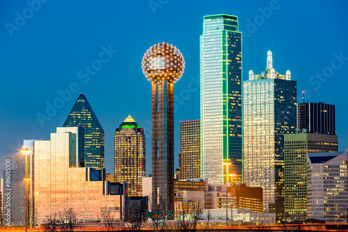 Poster Texas Dallas skyline at sunset