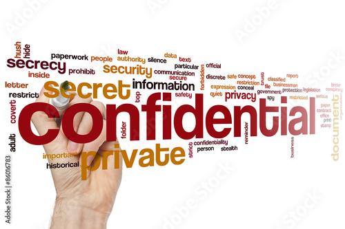 Fotografía  Confidential word cloud