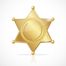 Vector Golden Sheriff Badge St...