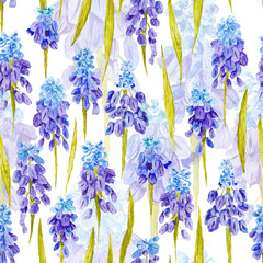 FototapetaVintage Watercolor Pattern with Purple Provence Flowers