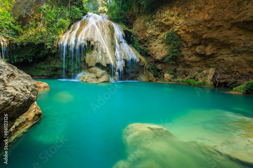 Wall Murals Waterfalls wonderful waterfall with colorful tree in thailand