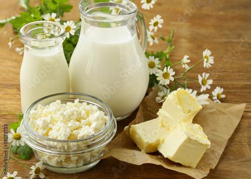 Fotobehang Zuivelproducten assortment of dairy products (milk, butter, sour cream, yogurt) rustic still life