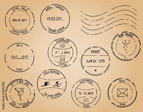 Fotografía  old postage stamps - vector black elements