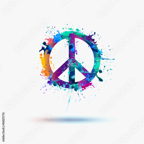 Vector Peace Symbol In Watercolor Splashes Buy This Stock Vector