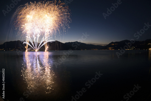 Fotografie, Obraz  Fireworks on the Lake Maggiore, Luino - Italy
