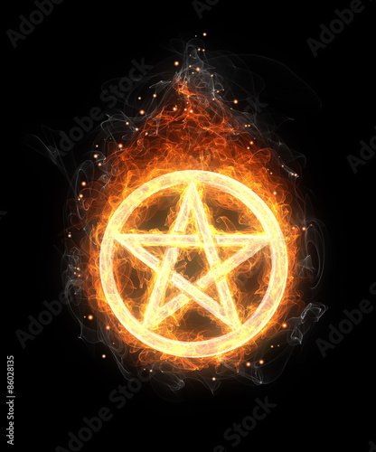 Photo  fire pentagram