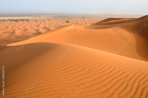 Foto op Canvas Droogte Sand dunes in the Sahara Desert, Merzouga, Morocco