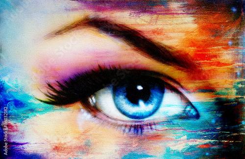 niebieskie-oko-kobiety-z-fioletowym-i-rozowym-makijazem-na-dzien-malowanie-kolorowe