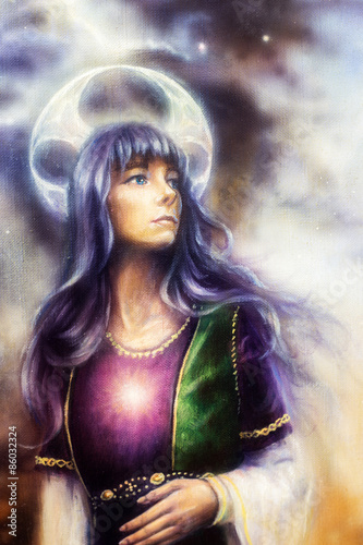 Photo  Fantastic woman with ornaments on space, color painting.