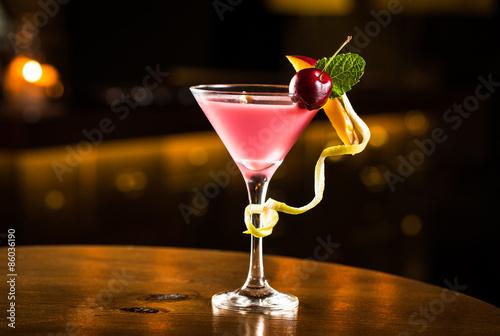 Fotografía  Cóctel de color rosa