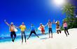 canvas print picture - Diverse Beach Summer Friends Fun Jump Shot Concept