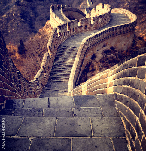 In de dag China Great Wall of China Travel Chinese Culture Concept