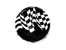 Checkered Race Flag Grunge Vector Design