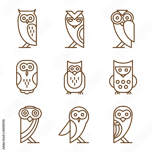 Poster Uilen cartoon Set of Owl Logos and Emblems