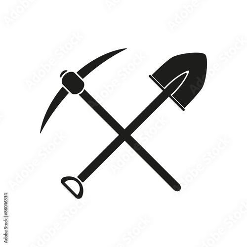 Canvastavla The crossing spade pickax icon
