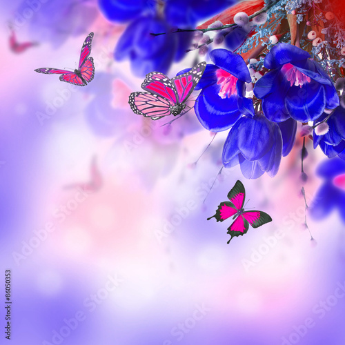 Photo Stands Floral woman Blue tulips with mimosa and butterfly