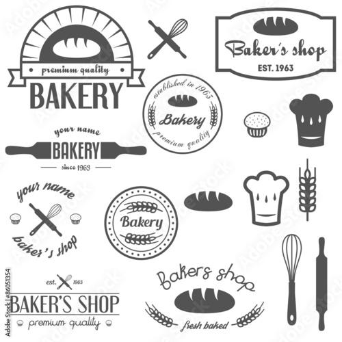 Poster Affiche vintage Set of vintage bakery logos, labels, badges and design elements