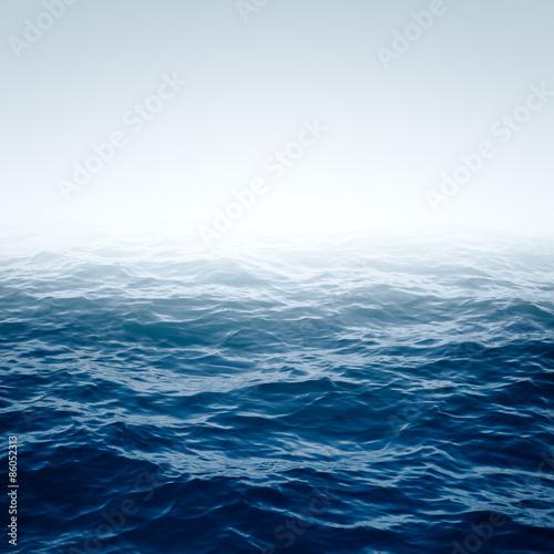 Autocollant pour porte Eau Blue Ocean with waves and clear blue sky