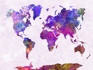 Fototapeta Mapy World map in watercolor purple warm