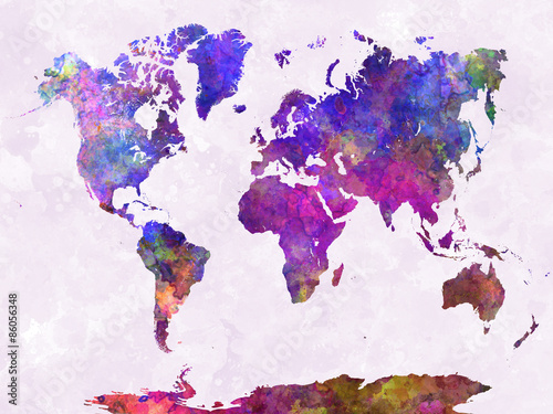 Fotografia  World map in watercolor purple warm