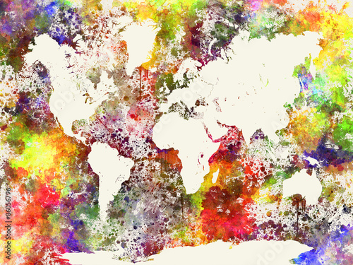 World map in watercolor abstract background Canvas Print