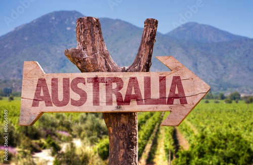 Poster Australië Australia wooden sign with winery background