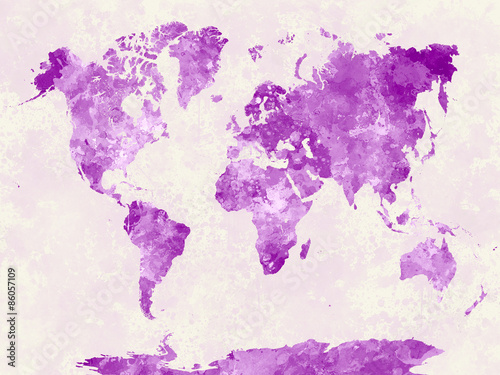 Fototapeta World map in watercolor pink obraz