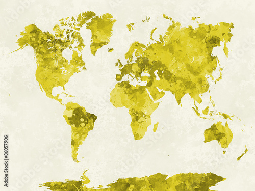 zolta-akwarelowa-mapa-swiata