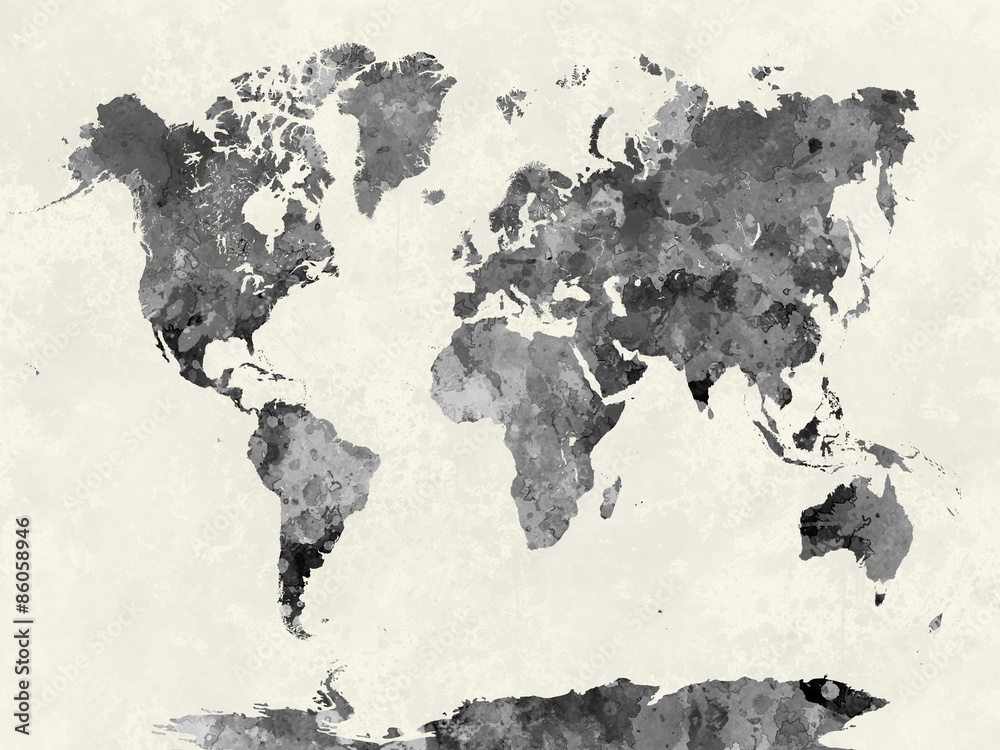 Fototapeta World map in watercolor gray