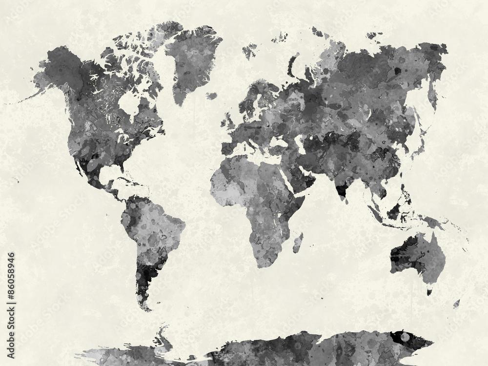 Fototapety, obrazy: Mapa świata w akwareli szarości