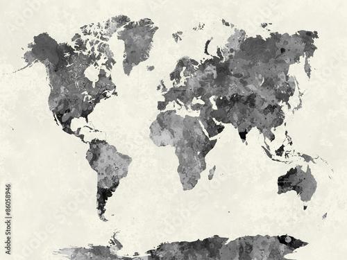 Fototapeta World map in watercolor gray obraz