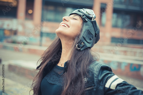 Fotografia, Obraz  aviator young beautiful brunette woman with cap and glasses