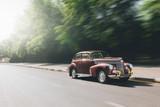 Retro car speed ride on road - 86064370