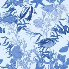 Blue Sea Life Seamless Background, Underwater Vector
